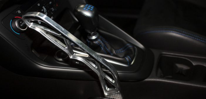 Ford Performance Drift Stick, the first-ever, rally-inspired electronic handbrake, developed and designed for Focus RS and approved by rally and stunt star Ken Bock