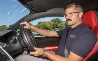 Nick Robinson behind the wheel of the Honda NSX