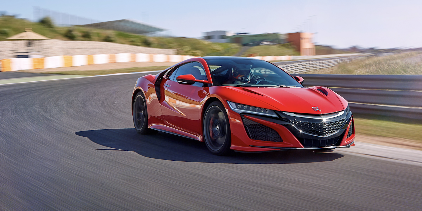 The Honda NSX being tested on a racetrack