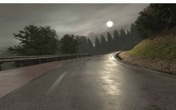rFpro creates realistic-looking driving scenarios, such as this highly accurate digital model of a wet road