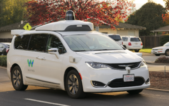 An autonomous Waymo Chrysler Pacifica Hybrid minivan undergoing testing in Los Altos, California