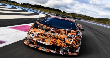 Lamborghini's SCV12 hypercar on track