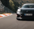 The 2022 porsche 911 gt3 driving at the nurburgring race circuit